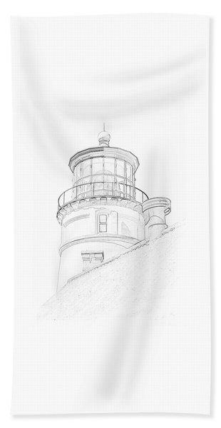 Hecitia Head Lighthouse Sketch Beach Towel