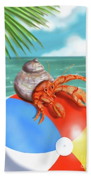 Hermit Crab On A Beachball Beach Sheet