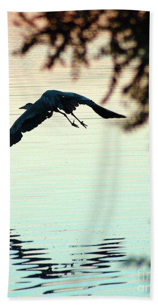 Heron At Dusk Beach Towel