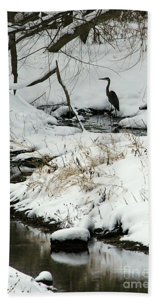 Heron In Winter Beach Towel
