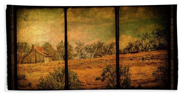 Hillside Farm Scene Triptych Beach Towel