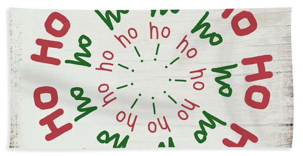 Ho Ho Ho Wreath- Art By Linda Woods Beach Towel