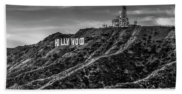 Hollywood Sign - Black And White Beach Sheet