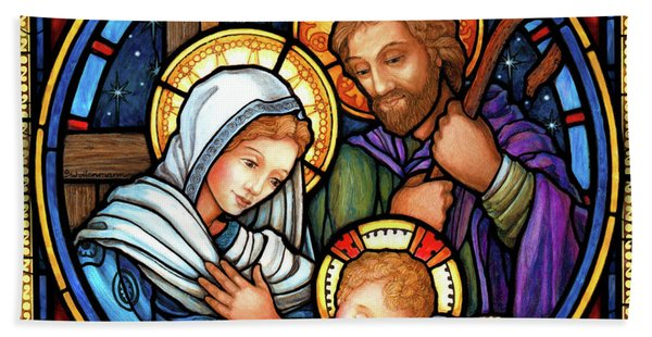 Holy Family Stained Glass Beach Towel