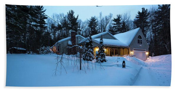 Home In Winter Beach Towel