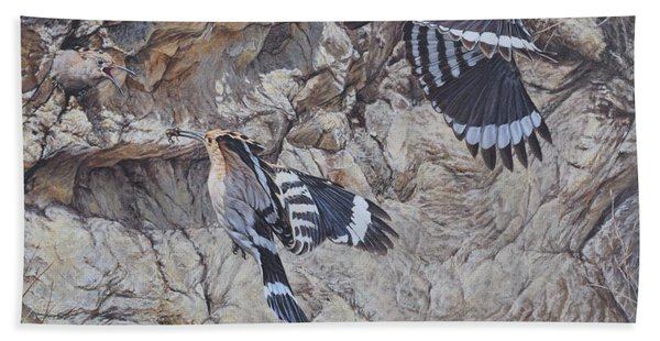 Hoopoes Feeding Beach Towel