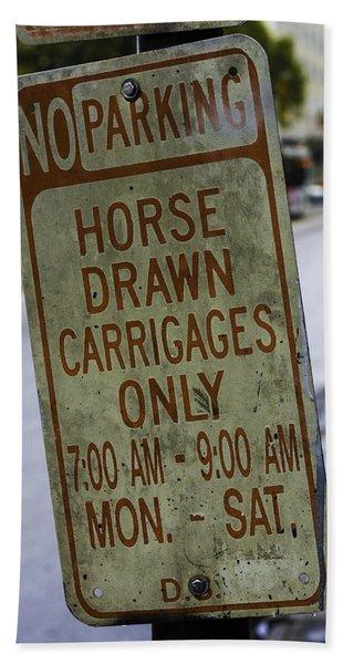 Horse Drawn Carriage Parking Beach Towel