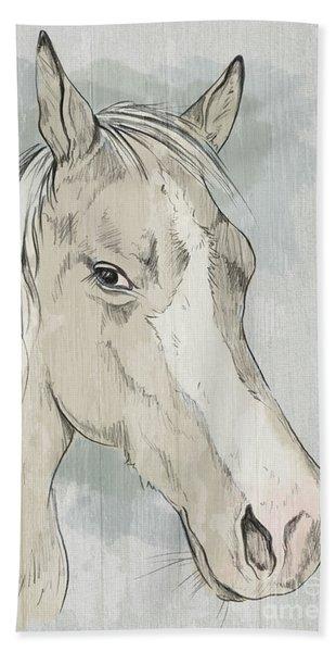 Horse Portrait-farm Animals Beach Towel