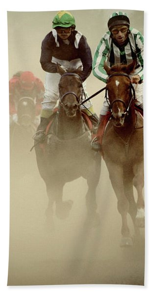 Horse Racing In Dust Beach Towel