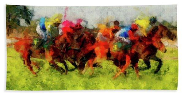Horse Racing Beach Towel