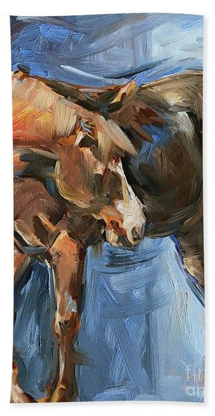 Horse Study In Oil  Beach Towel