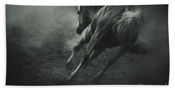 Horse Trotting In Morning Fog Beach Towel