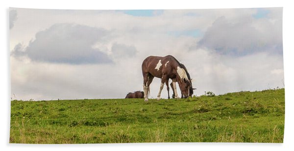 Horses And Clouds Beach Towel