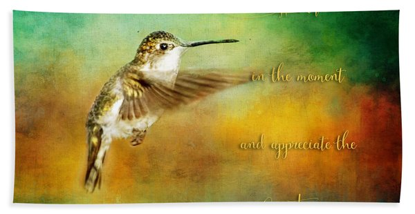 Hummingbird Hover Beach Towel