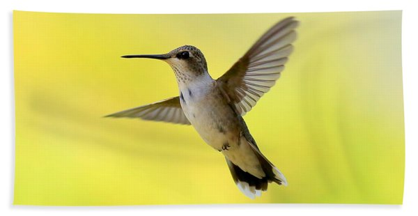Hummingbird In Yellow Beach Towel