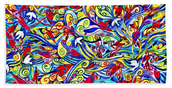 Hurricane Of Doves And Hearts Beach Towel