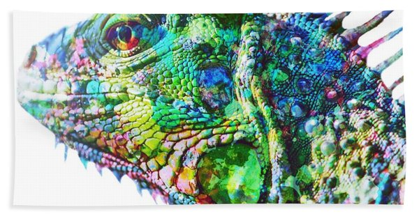Beach Towel featuring the painting Iguana by Mark Taylor