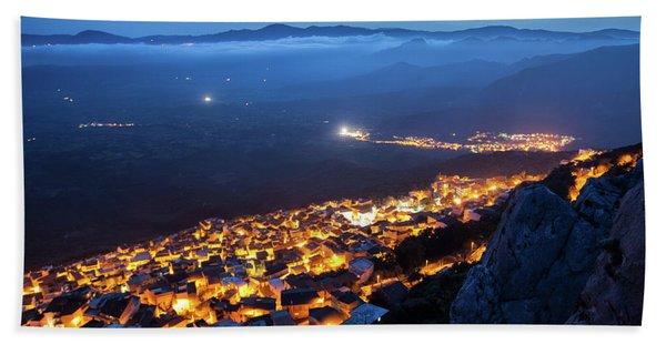 Illuminated Country At Night Beach Towel