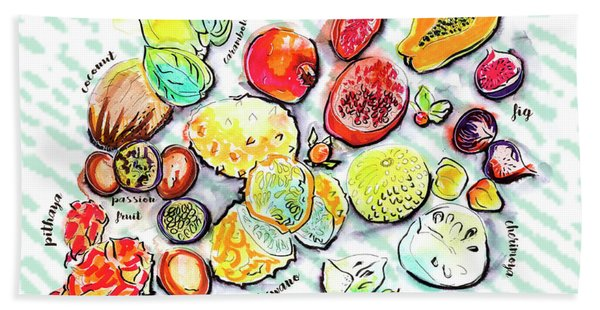 Illustration Of Exotic Fruits Beach Towel