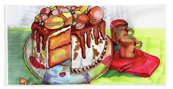Illustration Of  Winter Party Cake  Beach Towel