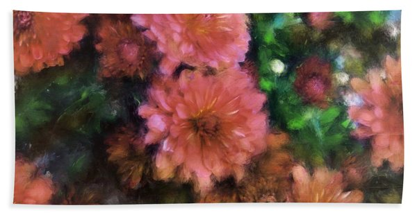 Bronze And Pink Mums Beach Towel