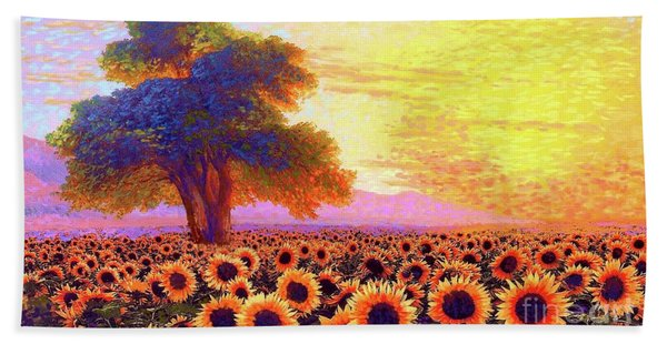 In Awe Of Sunflowers, Sunset Fields Beach Towel