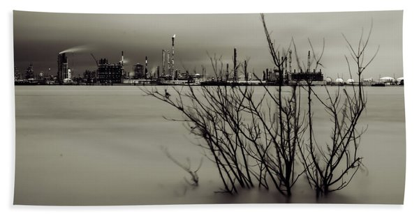 Industry On The Mississippi River, In Monochrome Beach Towel