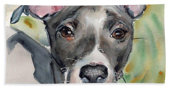 Italian Greyhound Watercolor Beach Towel