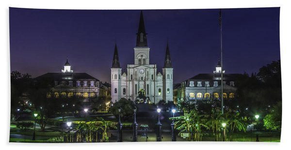 Jackson Square And St. Louis Cathedral At Dawn, New Orleans, Louisiana Beach Towel