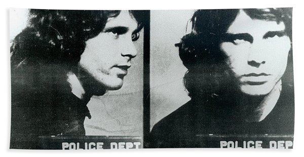 Jim Morrison Mug Shot Horizontal Beach Towel