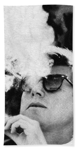 John F Kennedy Cigar And Sunglasses Black And White Beach Towel