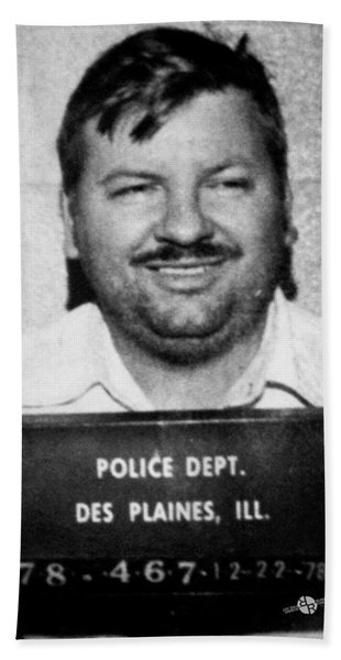 John Wayne Gacy Mug Shot 1980 Black And White Beach Towel
