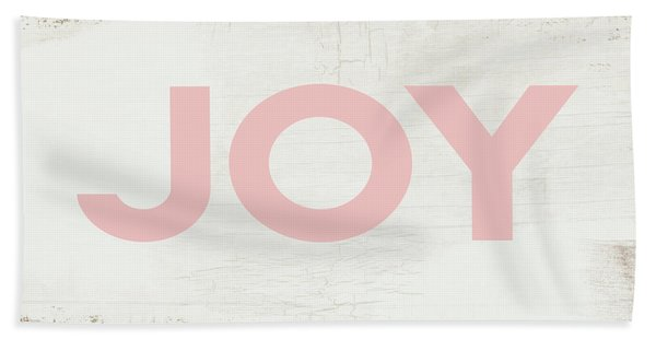 Joy Sign Pink- Art By Linda Woods Beach Towel