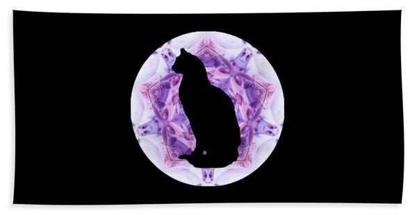Kaleidoscope Cat Silhouette Beach Towel