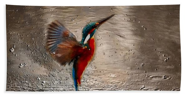 Beach Towel featuring the painting Kingfisher by Mark Taylor