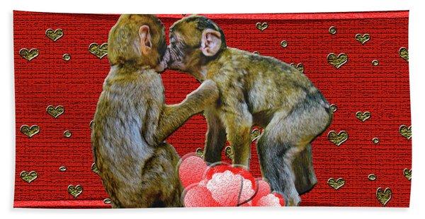 Kissing Chimpanzees Hearts Beach Towel