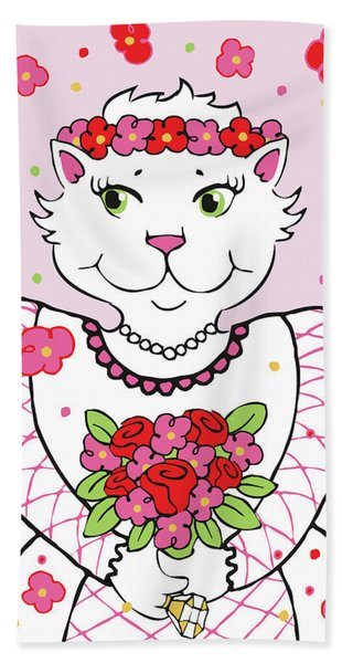 Kitty Bride Beach Towel