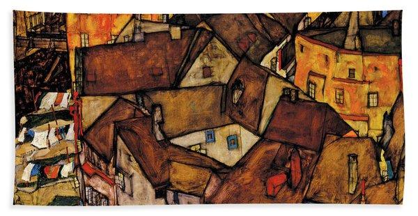 Krumau - Crescent Of Houses, The Small City Beach Towel
