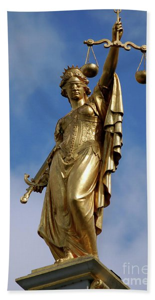 Lady Justice In Bruges Beach Towel