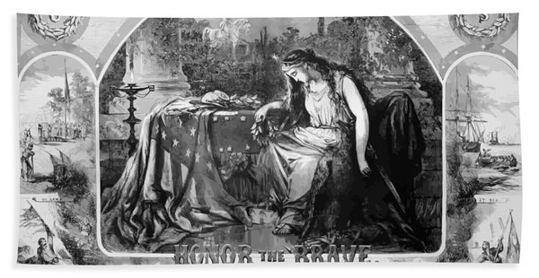 Lady Liberty Mourns During The Civil War Beach Towel