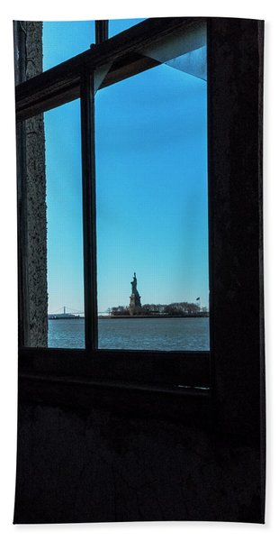 Beach Towel featuring the photograph Lady Liberty by Tom Singleton