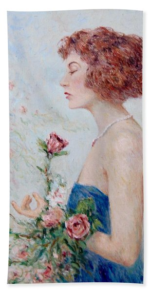 Lady With Roses  Beach Sheet