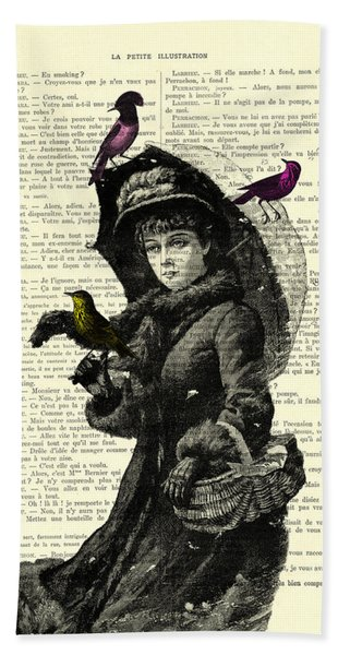 Lady With Umbrella In Winter Landscape Print On Old Book Page Beach Towel