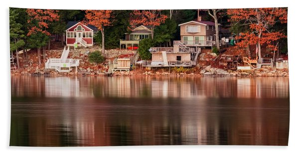 Beach Towel featuring the photograph Lake Cottages Reflections by Tom Singleton