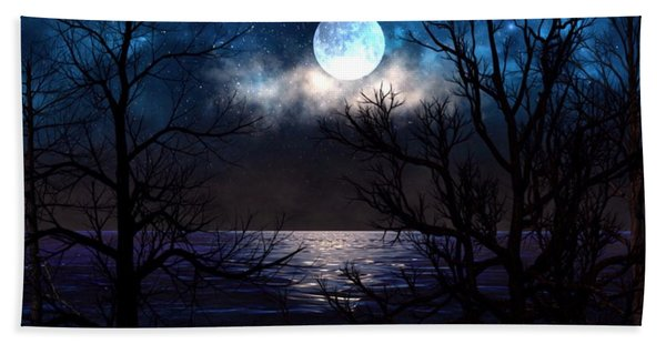 Beach Towel featuring the painting Lake Midnight by Mark Taylor