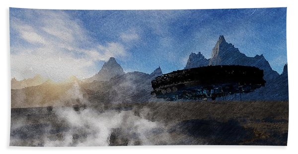 Beach Towel featuring the painting Landing Site by Mark Taylor
