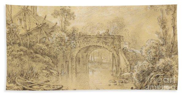 Landscape With A Rustic Bridge Beach Towel