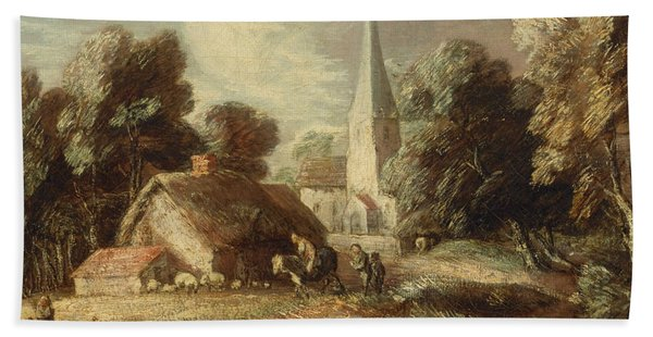 Landscape With Cottage And Church Beach Towel