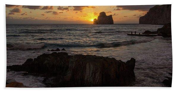 Large Rock Against The Light Beach Towel
