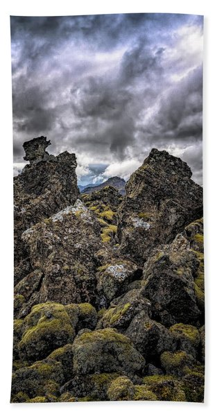 Beach Towel featuring the photograph Lava Rock And Clouds by Tom Singleton
